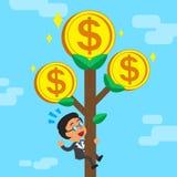 Дерево денег бизнесмена шаржа взбираясь Стоковые Фотографии RF