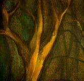 Дерево зимы в парке ночи, картине, иллюстрации иллюстрация штока