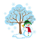 Дерево зимы, жизнерадостный снеговик, сезонные знаки зимы Стоковая Фотография RF