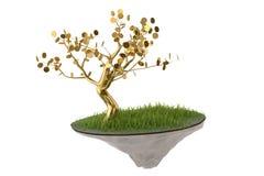 Дерево золота на острове воздуха иллюстрация 3d Стоковые Изображения