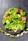 Дерево или букет салата с лентой сантиметра огурца и томата вокруг диетпитание принципиальной схемы стоковые фотографии rf