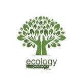 Дерево и руки Логотип, значок также вектор иллюстрации притяжки corel Стоковое Изображение