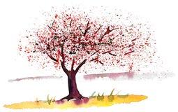 Дерево и цветки весны летая в ветер иллюстрация вектора