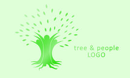 Дерево и люди (проект логотипа) Стоковая Фотография RF