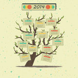 Дерево 2014 календаря Стоковые Фото