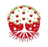 Дерево логотипа вектора в круге иллюстрация вектора