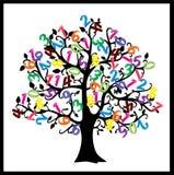 Дерево математики Иллюстрация чисел изолированная на белой предпосылке Стоковая Фотография