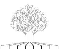 Дерево монтажной платы C.P.U. технологии, интерфейс микропроцессора иллюстрация вектора