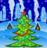 Дерево Нового Года на ландшафте зимы предпосылки иллюстрация штока