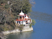 Дерево, озеро и висок в Индии стоковое фото rf