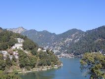 Дерево, озеро и холмы в Индии стоковые изображения rf