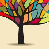 Дерево осени абстрактное с цветами Стоковое Изображение RF