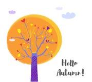 Дерево осени и предпосылка для карточки, иллюстрация неба вектора бесплатная иллюстрация