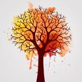 Дерево осени с падая листьями на белой предпосылке Элегантный дизайн с космосом текста и идеальными сбалансированными цветами Стоковые Фотографии RF