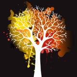 Дерево осени с падая листьями на белой предпосылке Элегантный дизайн с космосом текста и идеальными сбалансированными цветами Бесплатная Иллюстрация