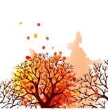 Дерево осени с падая листьями на белой предпосылке Элегантный дизайн с космосом текста и идеальными сбалансированными цветами Иллюстрация вектора
