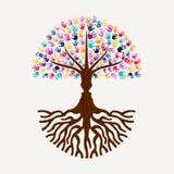 Дерево печати руки с формой силуэта человеческого лица Стоковые Фото