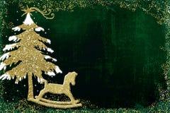 Дерево поздравительной открытки рождества и тряся лошадь Стоковое фото RF