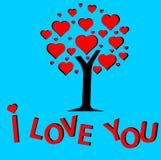 Дерево поздравительной открытки влюбленности Стоковые Фото