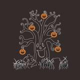 Дерево призрака тыквы хеллоуина Стоковое Изображение