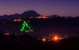 Дерево рождества светлое в долине Стоковое Изображение RF