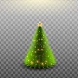 Дерево рождества сияющее изолированное на прозрачной предпосылке также вектор иллюстрации притяжки corel Стоковые Фото