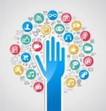 Дерево руки технологии интернета разнообразия иллюстрация вектора