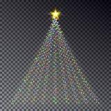 Дерево света рождества при гирлянда изолированная на темной предпосылке C Стоковые Изображения RF