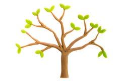 Дерево сделанное от изолированного пластилина на белой предпосылке изображения экологичности принципиальной схемы еще многие мое  Стоковое Изображение