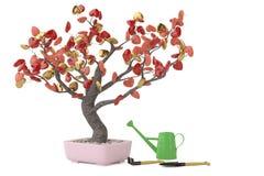 Дерево сердец в баке иллюстрация 3d Стоковое Изображение