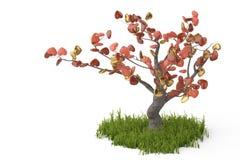Дерево сердец на белой предпосылке иллюстрация 3d Стоковая Фотография RF