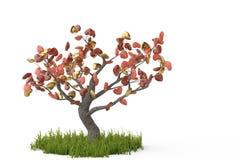 Дерево сердец на белой предпосылке иллюстрация 3d Стоковая Фотография