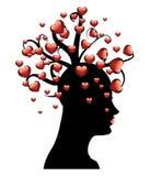Дерево сердец на голове иллюстрация вектора