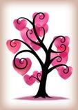 Дерево сердец пинка дня валентинок Стоковая Фотография