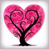 Дерево сердец пинка дня валентинок Стоковые Изображения RF