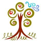 Дерево скручиваемостей с плодоовощ и грациозно птицей иллюстрация вектора