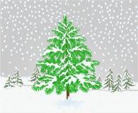 Дерево спруса ландшафта зимы с иллюстрацией вектора естественной предпосылки темы рождества снега винтажной editable иллюстрация штока
