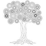 Дерево с корнями мандал Стоковое Изображение RF