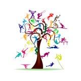 Дерево с красочными значками спорта Стоковые Изображения