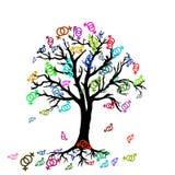 Дерево с красочными символами лесбосских пар Стоковые Изображения RF