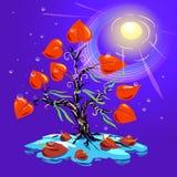 Дерево с лист-сердцами и зелеными лентами на ветвях Стоковые Фото