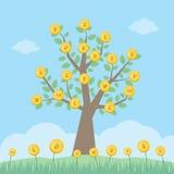 Дерево с монетками валюты мира - вектор денег бесплатная иллюстрация