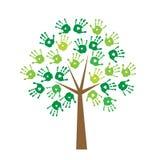 Дерево с печатями рук вместо листьев иллюстрация вектора