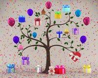 Дерево с подарочными коробками иллюстрация штока