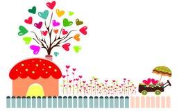 Дерево с предпосылкой сердец Стоковое Изображение RF