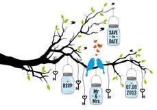Дерево с птицами, wedding приглашение бесплатная иллюстрация