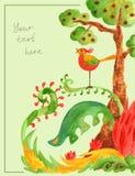 Дерево с плодоовощ, зелеными кустами и птицей Стоковые Фото