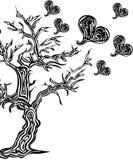 Дерево с сердцами в стиле татуировки Стоковая Фотография