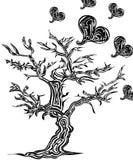Дерево с сердцами в стиле татуировки Стоковое фото RF