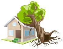 Дерево упало на дом домашний страхсбор иллюстрация вектора